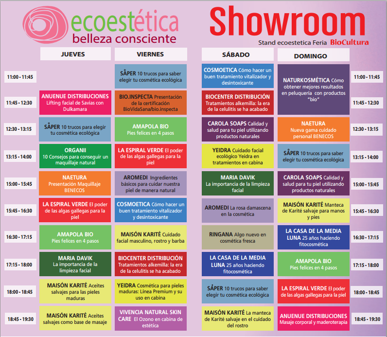 Agenda Showroom Red Ecoestética Biocultura Madrid 2015